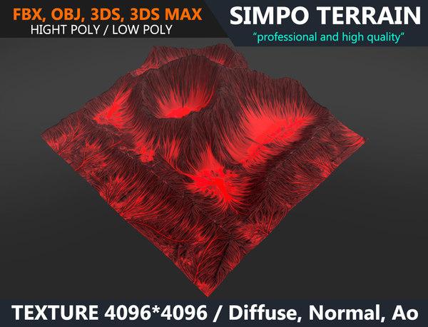 realistic terrain polys games 3D model