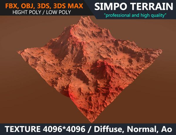 3D model realistic terrain polys games