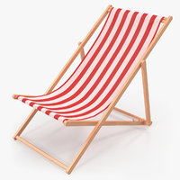 classic beach folding chair 3D