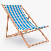 folding wooden beach chair 3D model