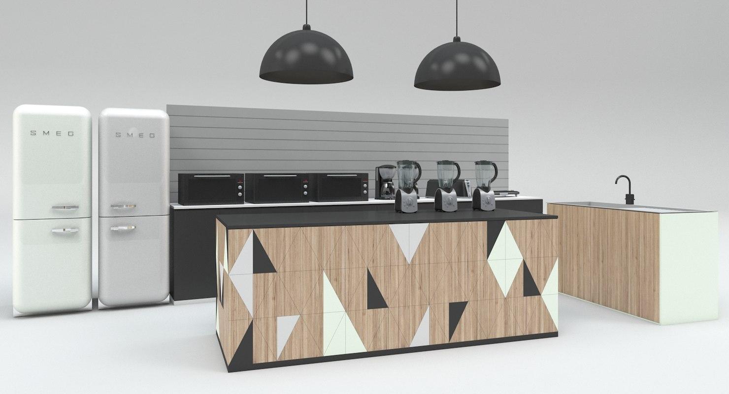 3D kitchen island model