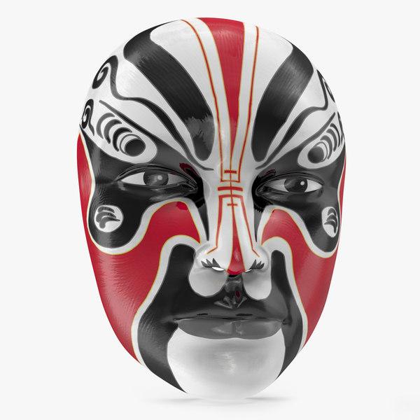 3D japanese male opera mask