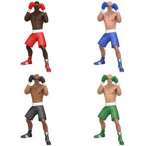 pack rigged boxer world 3D model