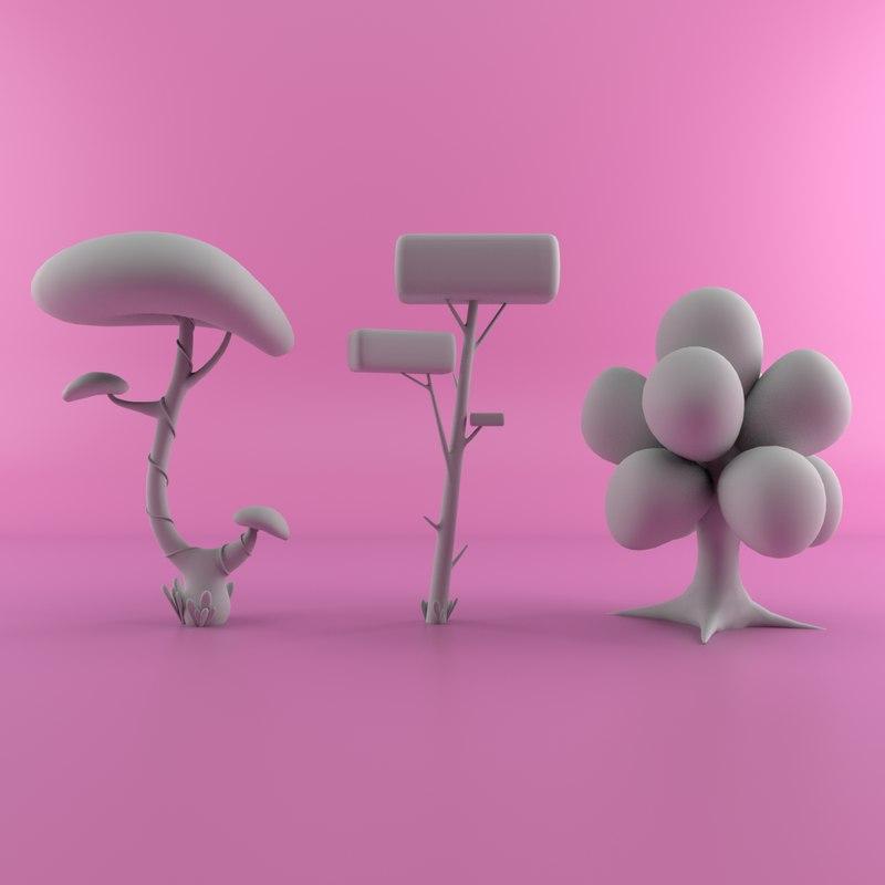 cartoon tree 3D