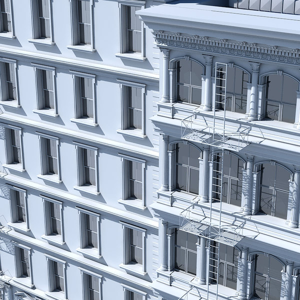 3D model tenement building facades
