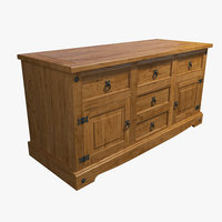Wood Massive Chest of Drawers