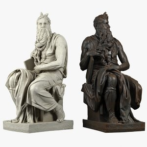 3D moses sculpture michelangelo model