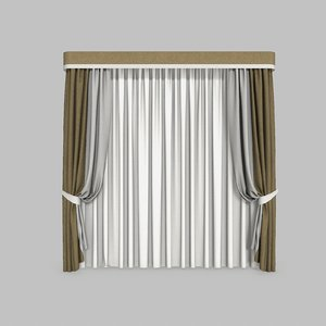 3D curtains 2 modeled model