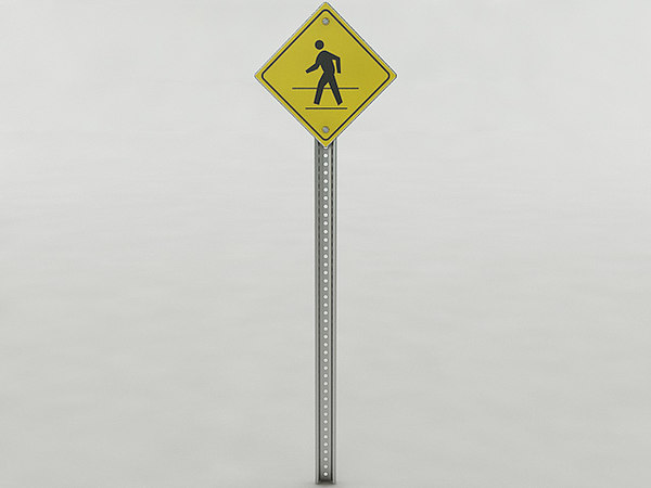pedestrian crossing sign 3D model