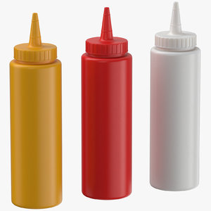 3D condiment bottles 01