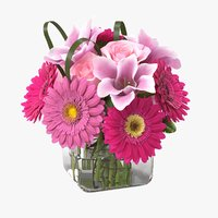 realistic lily gerbera bouquet model