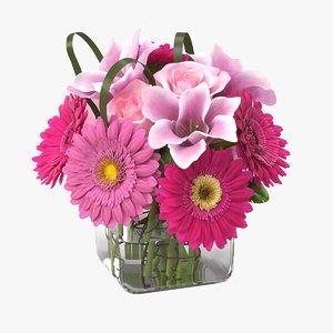 realistic lily gerbera bouquet model