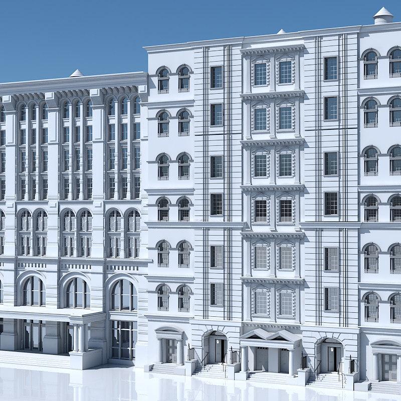 tenement building facades 3D model