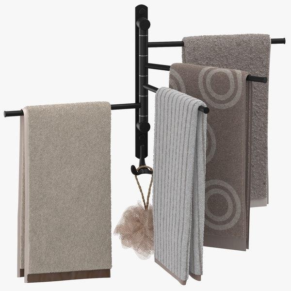 modern bathroom towel rack 3D model