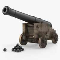 Old Ship Cannon with Balls