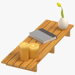 bamboo tub shelf lit 3D model