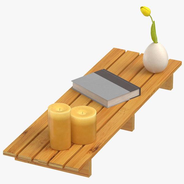bamboo tub shelf unlit model