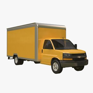 3D chevrolet express box truck