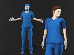 3D model nurse woman