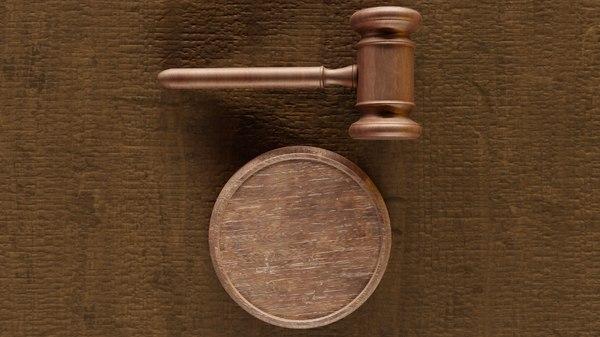 gavel worn based wooden 3D model