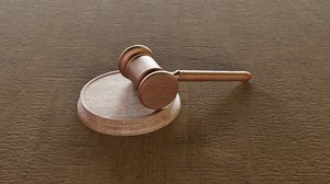 gavel worn based wooden 3D model