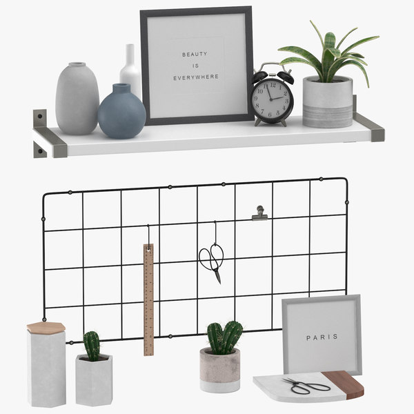 designer shelf set 02 3D