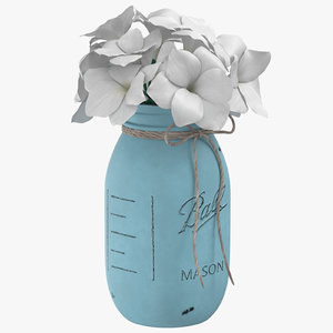 painted jar flower pot model