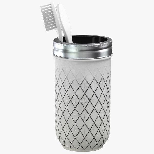3D painted jar toothbrush holder