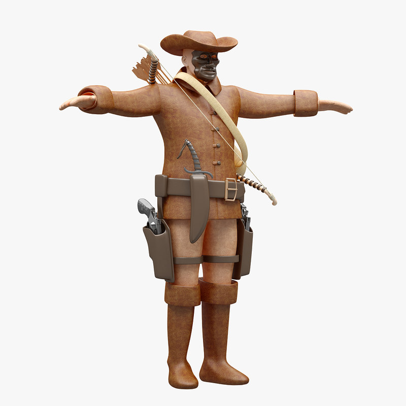 rigged cowboy highpoly 3D