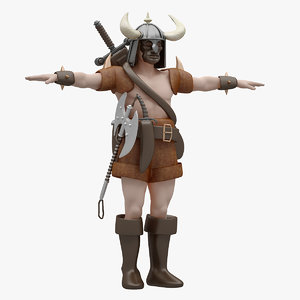 3D model barbarian rigged