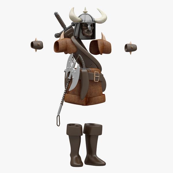 3D barbarian cloth model
