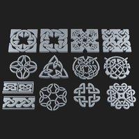 celtic ornament pack 2 3D model
