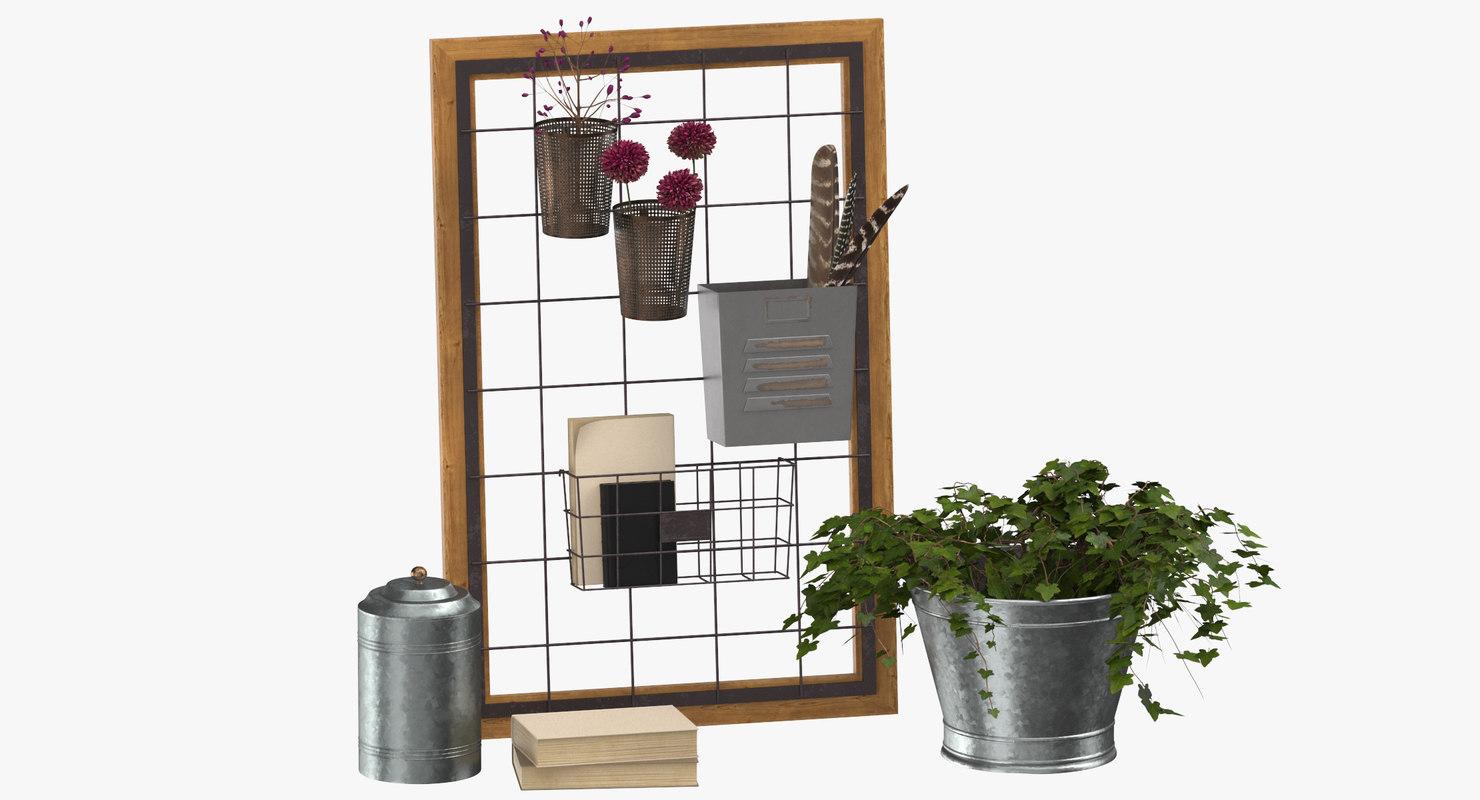 3D shelving decor set 01