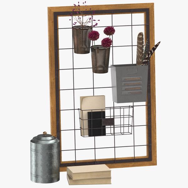 steel wire wall organizer 3D
