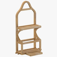 3D wooden hanging shelf model