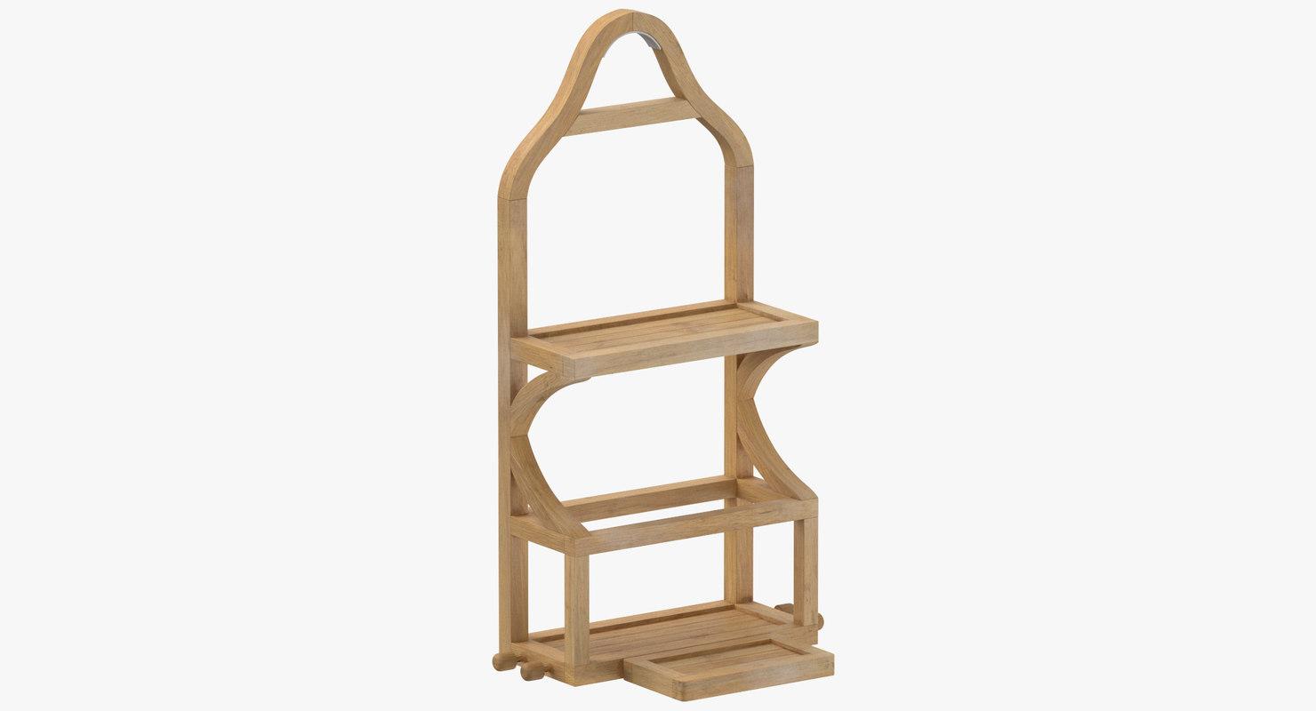 3D wooden hanging shelf model