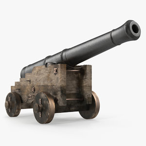 3D old ship cannon wooden