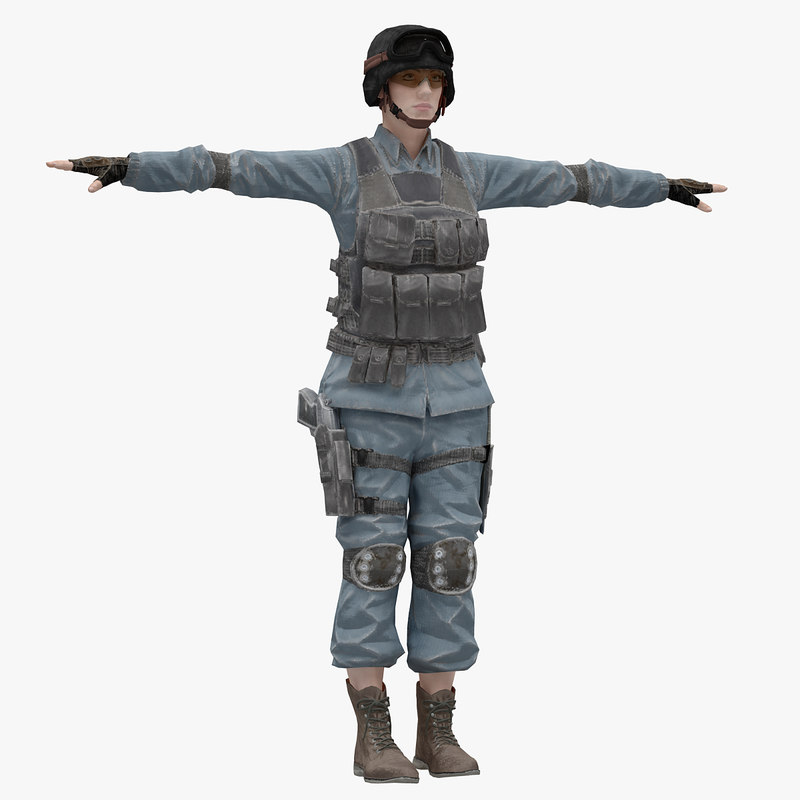 rigged t-pose female 3D model