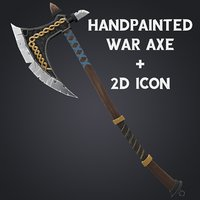 3D medival axe icon model