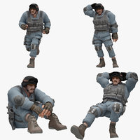 Male 03 Rigged 7 Pose Lowpoly