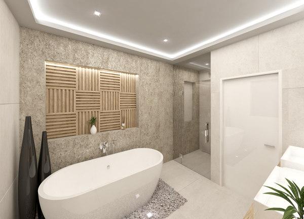 3D scene modern bathroom interior