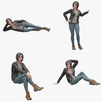 Female 03 Rigged 7 Pose Lowpoly