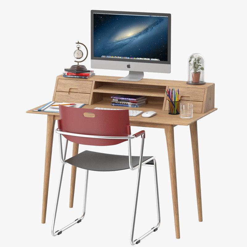 scandinavian style desk 3D model