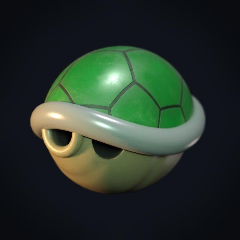 mario shell green 3D