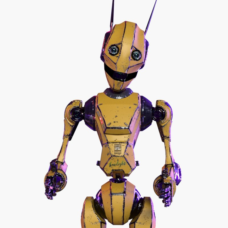 yellow robot rigged 3D