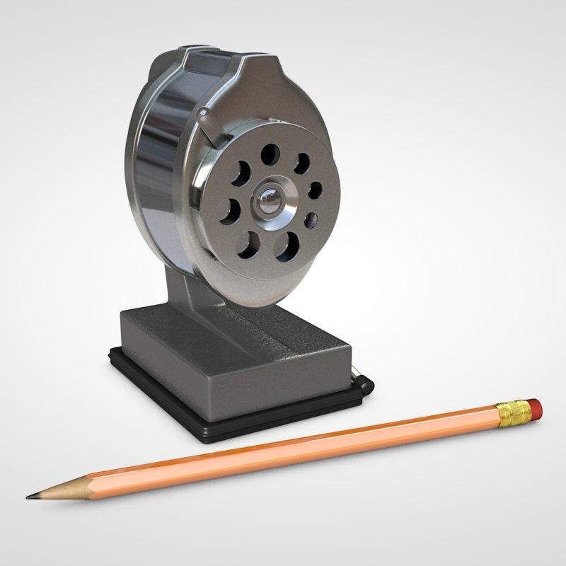 3D retro sharpener pencil