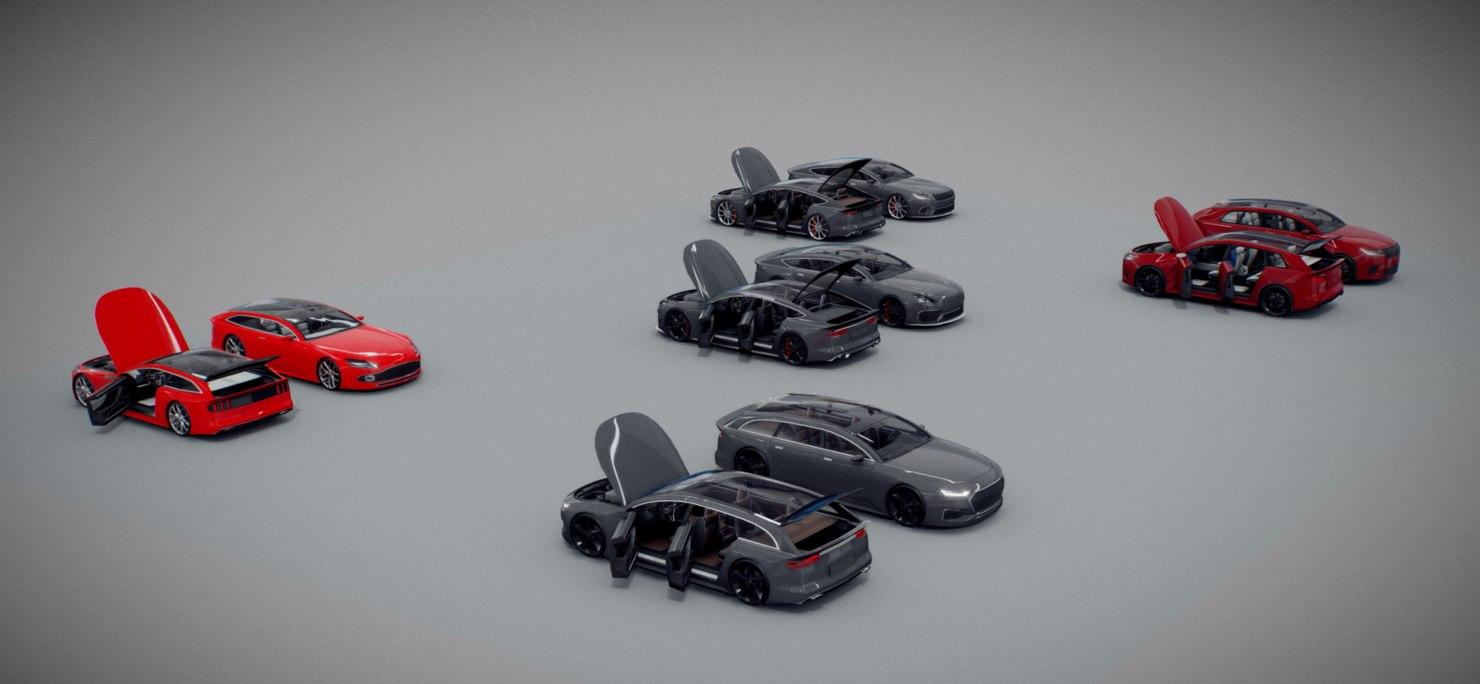 pack 5 cars 3D model