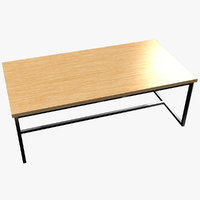 minimalist living room table wood 3D model