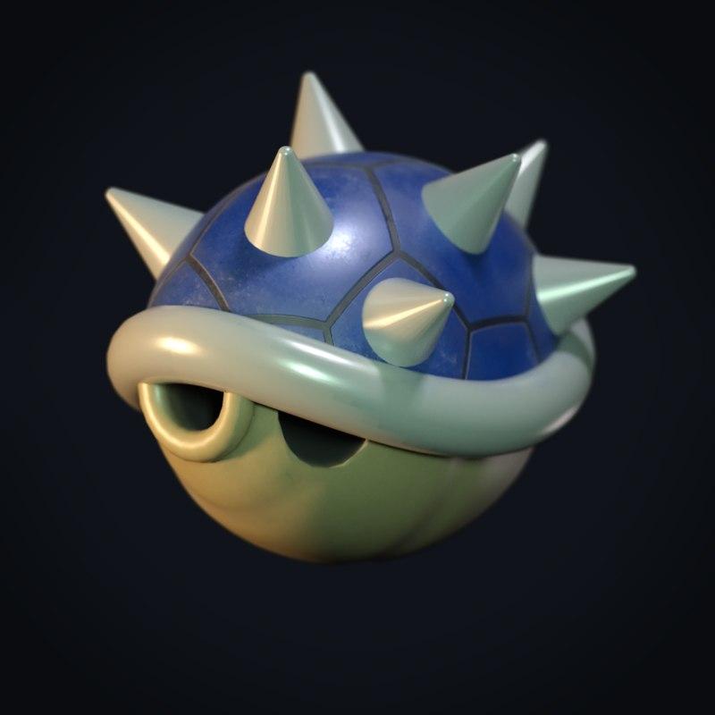 3D mario shell blue spikes model