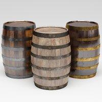 3D barrel wood wooden model